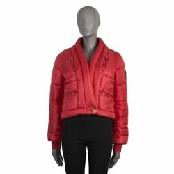 52866 Auth Coral Red Silk Apres Ski Puffer Down Jacket 36 Xs