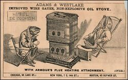 Adams And Westlake Oil Stove Anthropomorphic Codfish Antique Trade Card