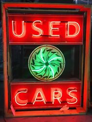 AMAZING Large USED CARS Dealership NEON Sign STORE DISPLAY Garage Man Cave item