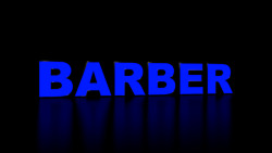 6pc Barber Led Black Side Panels, Storefront Sign, Complete And Ready To Install