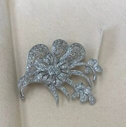 Flower Brooch Pin 14k White Gold And Natural White Round Diamonds