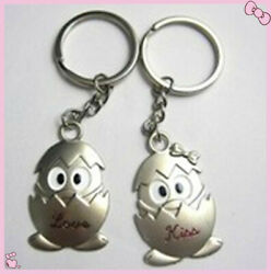 Couples Keyrings Set Chrome Key Rings Chains Eggs W144 A Pair