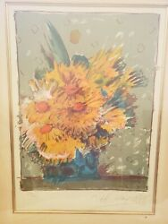 Peter Max Flowers In Brown Color Lithograph Hand Signed Vintage Pop Artwork