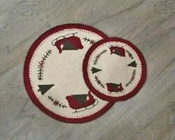 New Primitive Country Handmade Christmas Santa's Sleigh 9 Round Candle Mat