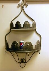 Vintage Tin Tole Pewter Metal Wall Shelf Country French Monteith Crown Chic
