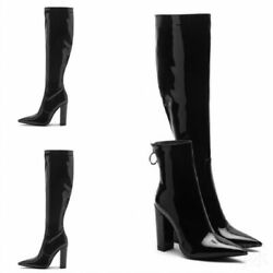 Women Block Heels Knee High Thigh Boots Pointy Toe Patent Leather Pull On Shoes