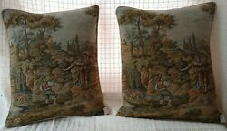 2 Gorgeous vintage tapestry pillows Made in Italy down feather insert