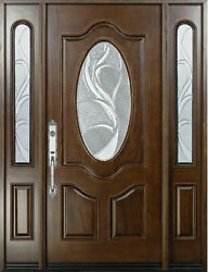 Solid Wood Stained Walnut Front Entry Door With Sidelight 61 1/4 X 81 X 5 1/4