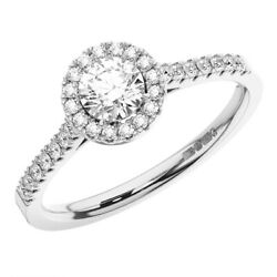 0.75ct Claw Set Round Brilliant Cut Diamonds Halo Engagement Ring In 18k Gold
