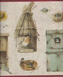 COUNTRY BIRDHOUSES AND BIRDS RUST RED TRIM WALLPAPER BORDER