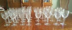 29pc Waterford Kildare Hand Cut Crystal Water, Wine And Champagne Flutes Stemware