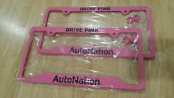 FRONT & REAR 2 DRIVE PINK  AUTO NATION PINK LICENSE PLATE METAL FRAME BRAND NEW
