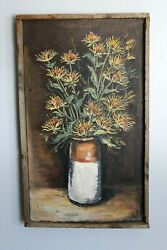 Mary Azarian Painting On Wood Signed Sunflowers Vermont Woodcut Artist Rare