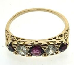 Antique Victorian 15 Ct Yellow Gold Ruby And Diamond Five Stone Ring Size P 3.48g