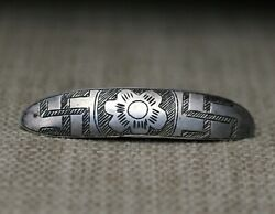 Early Navajo Coin Silver Whirling Log Brooch Pin C.1880-1900and039s
