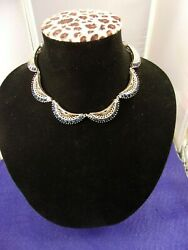 Outstanding Vtg Antique Gold Washed Silver And Synthetic Sapphire Art Deco Choker