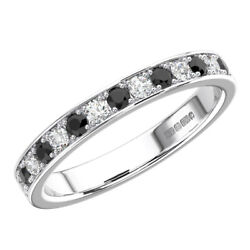0.60 Ct Pave Set Round Cut White And Black Diamonds Half Eternity Ring In 9k Gold