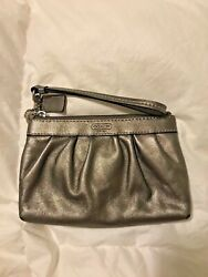 Coach Small Wristlet Pewter Clutch Bag Handbag Metallic Leather C $25.00