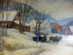 Signed Engen Oil Painting Winter Scene Sleigh Cart Wagon With Horses Vintage