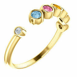 Open Space Family Ring 10k Or 14k Solid Gold Mothers Ring 1 To 6 Birthstones