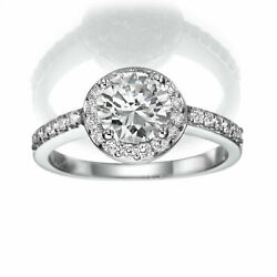 HALO DIAMOND RING ROUND SI1 REAL 2.55 CT 18K WHITE GOLD FOUR PRONG SIZE 6 7 8
