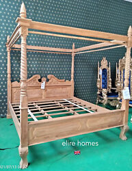 Teak Wood Super King Size Rustic Natural Queen Anne Style Four Poster Canopy Bed