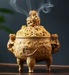 Chinese Boxwood Carved Insence Stick Cones Burner Holder Box Ash Catcher