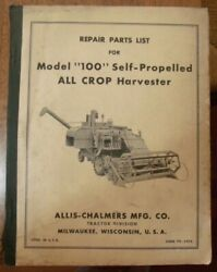Allis Chalmers Model 100 All Crop Harvester Repair Parts List 1950and039s