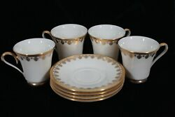 Discontinued Lenox China Clarion Set Of 4 Demi / Demitasse Cup And Saucer New