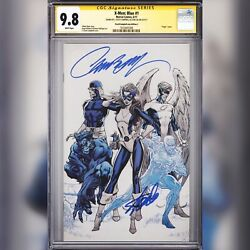 Cgc 9.8 Ss X-men Blue 1 Variant Signed By Stan Lee And J. Scott Campbell