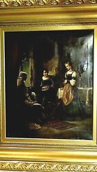 Antique 18c Dutch Old Macter Oil On Canvas Painting A Family Musicians By Window