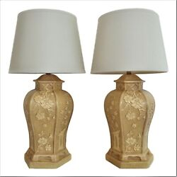 Vintage Pair Large Asian Style Pagoda Table Lamps Chinoiserie Hollywood Regency