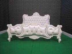 5' Uk King Size High Quality Mahogany White Chesterfield Baroque Chatelet® Bed