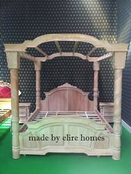 Super King BESPOKE Designer luxury Georgian Four Poster handcarved mahogany bed