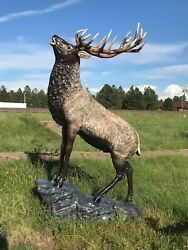 Elk on the Rock Natural Color Aluminum Outdoor Statues