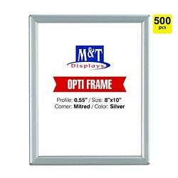 8x10 Snap Frame, Mitered Corner, Opti Frame, Aluminum, Wall Mounted, Silver