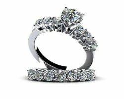1.75 Ct Round Simulated Diamond Solitaire Wedding Ring Sets In 14k White Gold