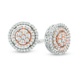 5/8 Ct Natural Diamond Double Frame Cluster Stud Earrings In 10k Two Tone Gold