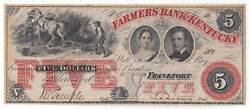 18xx Farmers Bank Of Ky Frankfort Five Dollar Remainder Note - 04921