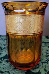 Antique Moser Early 1900's Art Glass Unique Amber Buttoned Paneled And Gilded Vase