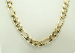 14k Yellow Gold Italian Dia Cut Smooth Figaro Link Chain Necklace 21in D5627