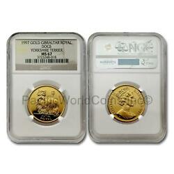 Gibraltar 1997 Dog Yorkshire Terrier 1 oz Royal Gold NGC MS67 SKU# 7602
