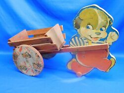 Wwii Toy 1943 N. N. Hill Wooden Pull Toy Dog Chime W Pull Cart All Wood War Toy