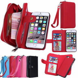 Leather Wristlet Cash Clutch Wallet Phone Case Cover For iPhone amp; Samsung Galaxy $10.98