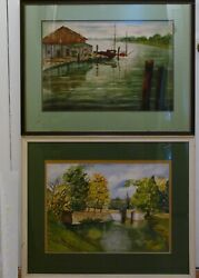 Earl Minderman Chesapeake And Ohio Canal Artist Signed 2 Watercolor Paintings