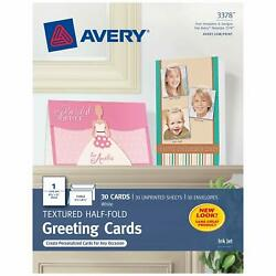 Avery Printable Half-fold Greeting Cards 5.5 X 8.5 Inches Inkjet 30 Cards