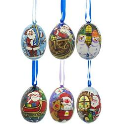 Santa Snowman And Reindeer Delivering Gifts Wooden Christmas Ornaments 3 Inches
