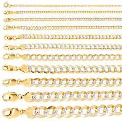 14k Yellow Gold Solid 2mm-12.5mm Diamond Cut Pave Cuban Chain Necklace 16- 30