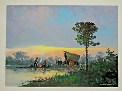 Jose Rios Pinto Signed Original Gouache Watercolorpaintings Of Sunset Campfire