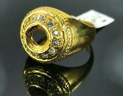 22k Ring Solid Gold Elegant Charm Mens Stone Band Size 11.5 Resizable R2386